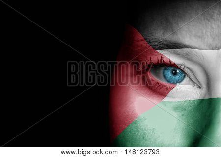 A young female with the flag of Palestine painted on her face on her way to a sporting event to show her support.