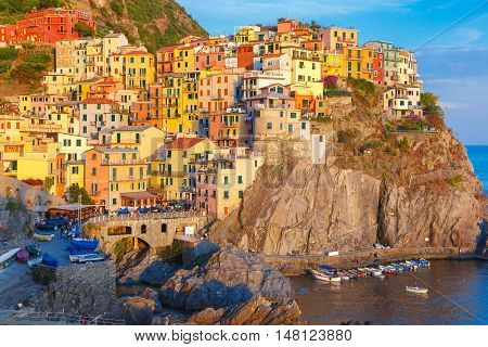 Aerial view of Manarola fishing village in Five lands, Cinque Terre National Park in the evening, Liguria, Italy.