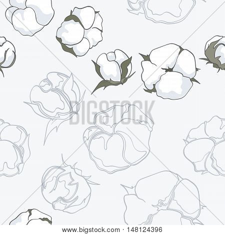 Seamless pattern with hand drawn cotton flowers vector illustration