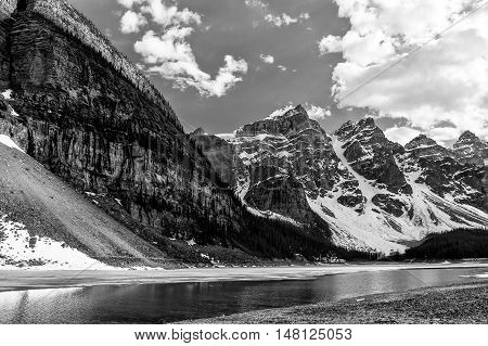 Valley of Ten Peaks glaciers close view in Moraine Lake in Banff National Park Alberta Canada -black and white