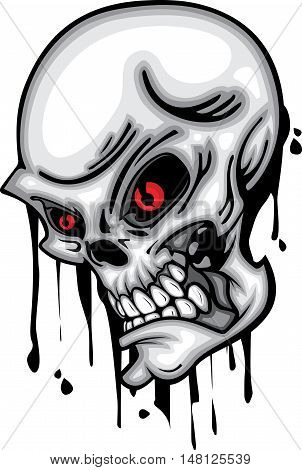 Skull head red eye 3d vector on white background