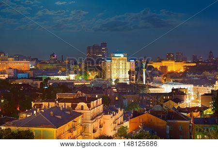 Beatifull skyline of Kiev in moonlight. Ukraine