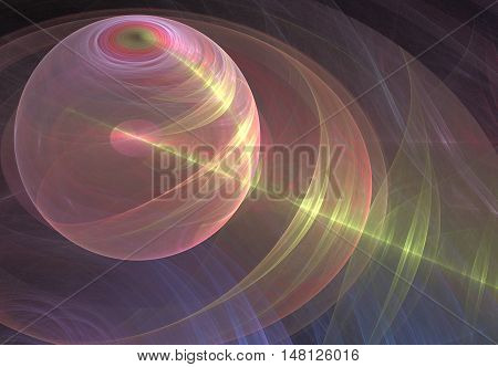 pink transparent globe on a dark background of random lines with a yellow beam and glare from the beam
