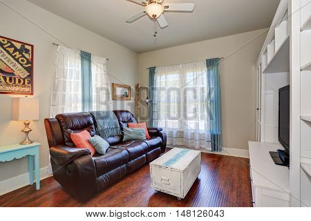 Living Room Interior With Leather Sofa And Tv Set.