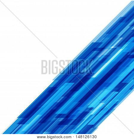 Abstract Geometric Squares Lines Blue Vector Background.