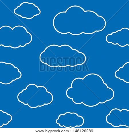 Clouds seamless pattern. Vivid navy blue continuous background with white thin line sky cloudlets. Simple vector repeating texture in eps8 format.