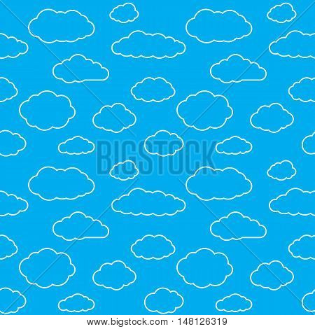 Clouds seamless pattern. Vivid blue continuous background with white thin line sky cloudlets. Simple vector repeating texture in eps8 format.