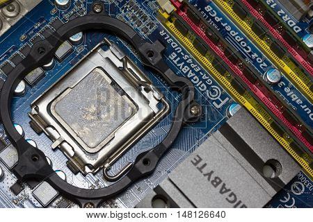 Krasnodar Russia - September 17 2016: the CPU and RAM on the motherboard Gigabit