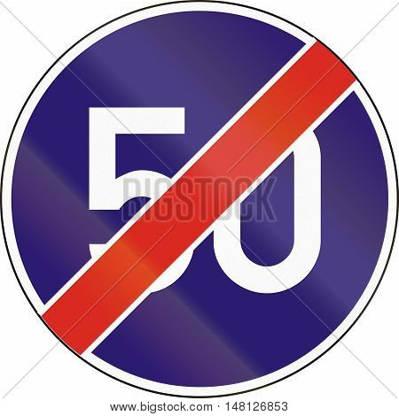 Road Sign Used In Hungary - End Of Minimum Speed