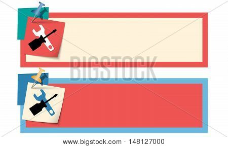 Two text boxes with tools and pin