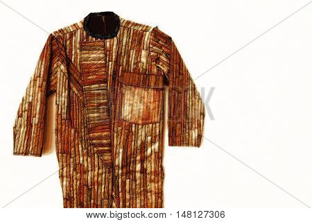 ancient wooden garment drawing on white paint