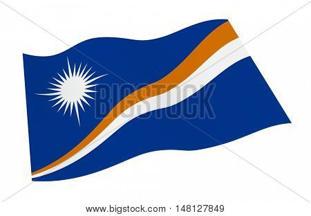 Marshall Islands flag isolated on white background from world flags set. 3D illustration.