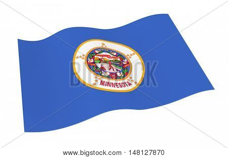 Minnesota flag isolated on white white background from world flags set. 3D illustration.