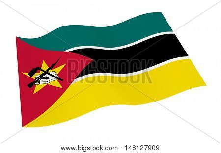 Mozambique flag isolated on white background from world flags set. 3D illustration.
