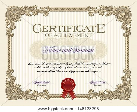 Ornament Vintage Frame Certificate of Achievement with Wax Seal.