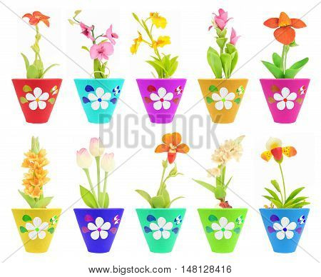 ten fake flower in the colorful flowerpot on white isolated
