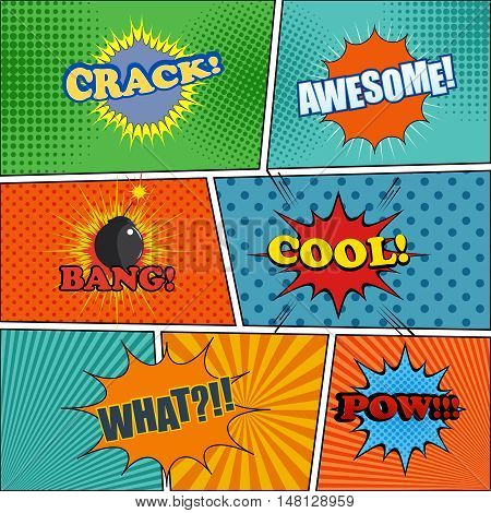 Comic book page with expressions and exclamations crack, awesome, bang, cool, pow. Cartoon collection