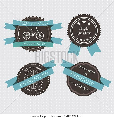Set of retro labels. Vintage frames for bicycle club, group or community