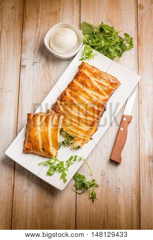 strudel stuffed with arugula and mozzarella