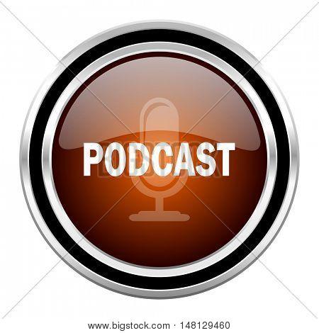 podcast round circle glossy metallic chrome web icon isolated on white background