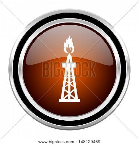 gas round circle glossy metallic chrome web icon isolated on white background