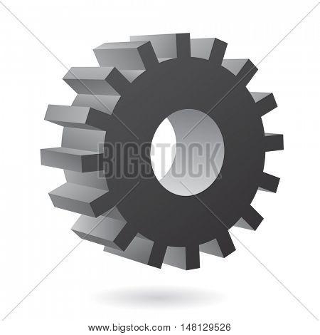 3d black cog icon on white background