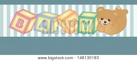 Scalable vectorial image representing a teddy bear baby shower party banner, isolated on white.