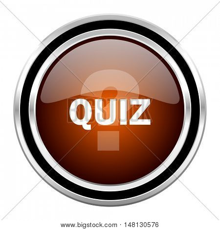 quiz round circle glossy metallic chrome web icon isolated on white background