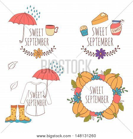 Set of hand drawn card with pumpkins, apples and leaves, umbrella and rain, raincoat, rubber boots isolated on white background. September. Sweet september.