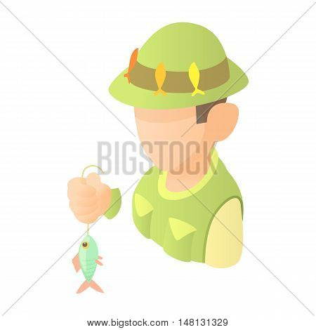 Fisherman with fish icon in cartoon style isolated on white background vector illustration