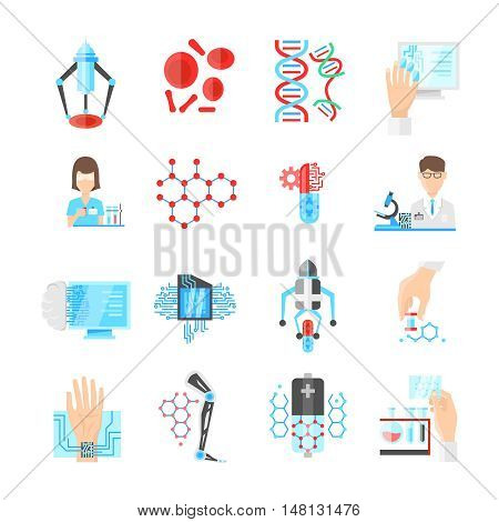 Nanotechnology flat icons set with scientists microchips and drugs laboratory researches dna and devices isolated vector illustration