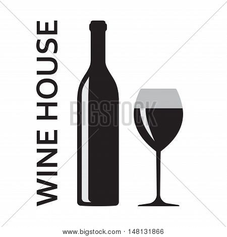 Wine bottle and wine glass icon or sign isolated on white background. Wine house badge or label. Vector illustration.