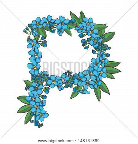 Forget me not vector alphabet. Letter P