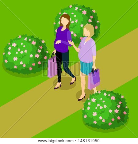 Pregnant women isometric composition with two friends walking after shop visit on natural scenery background vector illustration