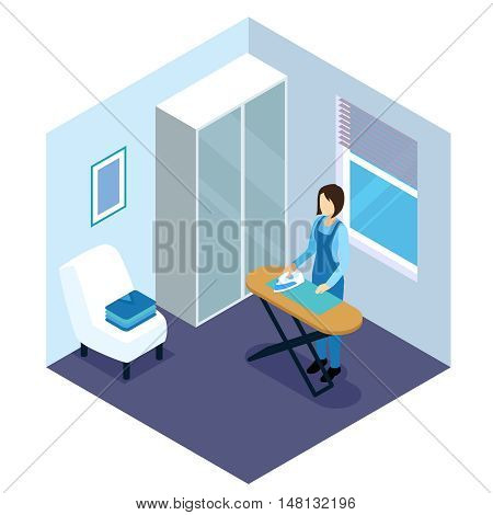 Ironing of clothes isometric composition in white blue tones with woman and board near window vector illustration
