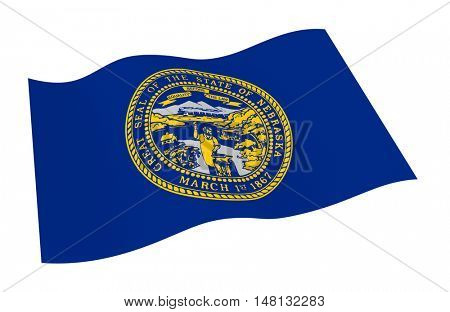 Nebraska flag isolated on white background from world flags set. 3D illustration.