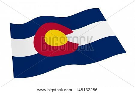 Colorado flag isolated on white background from world flags set. 3D illustration.