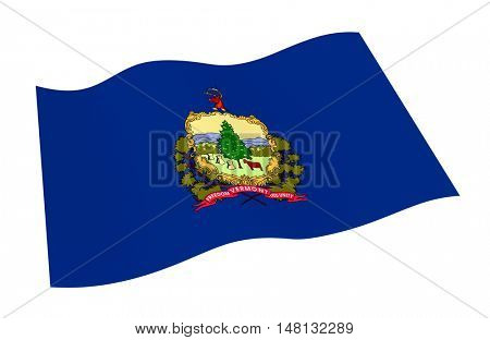 Vermont flag isolated on white background from world flags set. 3D illustration.
