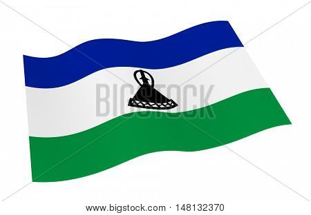 Lesotho flag isolated on white background from world flags set. 3D illustration.