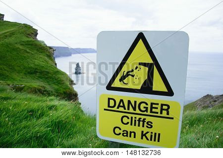 The sign on the Cliffs of Moher: Cliffs can kill
