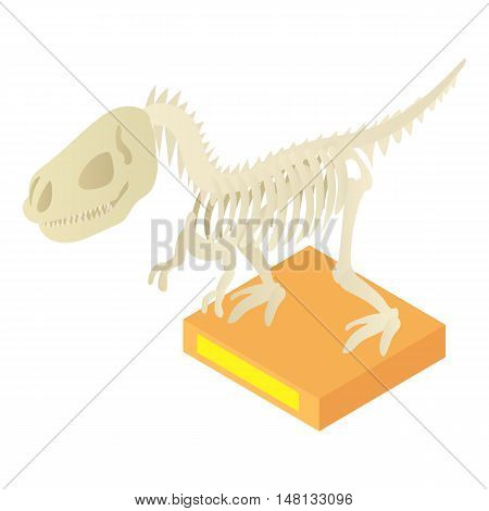 Dinosaur skeleton in archeology museum icon in cartoon style isolated on white background vector illustration