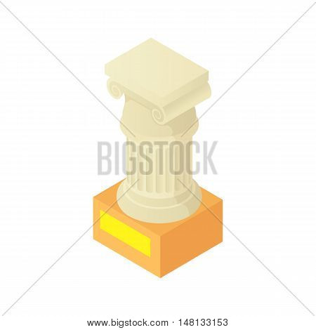 Antique column pillar in museum icon in cartoon style isolated on white background vector illustration
