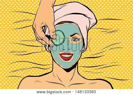 Cucumber mask on woman face, skin beauty, pop art retro vector illustration