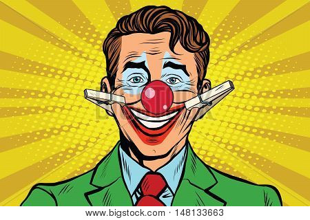 Clown face smile with clothespins, pop art retro vector illustration