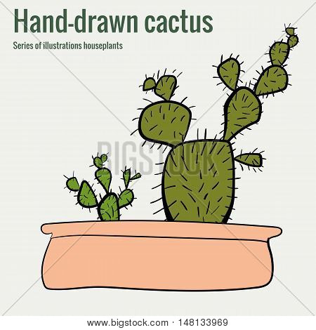 Homemade cactus in a pot a hand-drawn illustration vector art