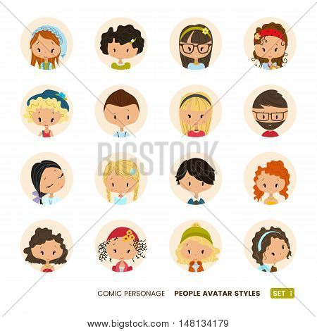 People avatars collection. Set of avatar icons. Comic personages. Hipster icons