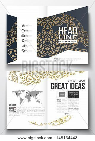 Set of business templates for brochure, magazine, flyer, booklet or annual report. Golden microchip pattern, connecting dots and lines, connection structure. Digital scientific background.