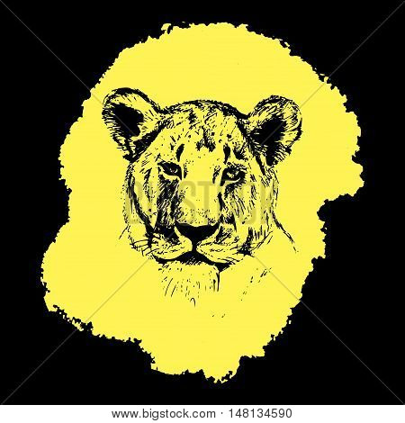 Vector Picture - Yellow And Black Graphic Lioness