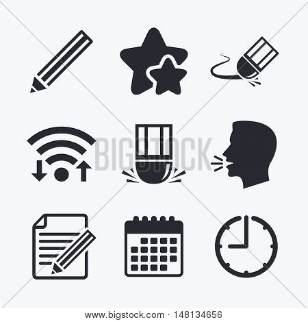 Pencil icon. Edit document file. Eraser sign. Correct drawing symbol. Wifi internet, favorite stars, calendar and clock. Talking head. Vector