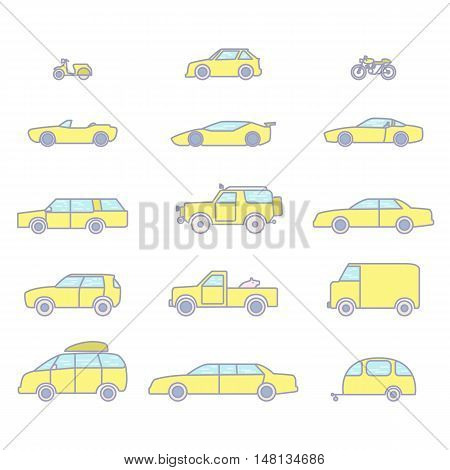 Car types outline icons vector color set. 15 items